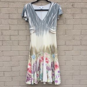 Pleated Floral Graphic Dress